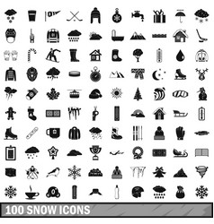100 snow icons set simple style vector
