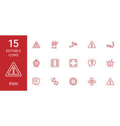 15 risk icons vector
