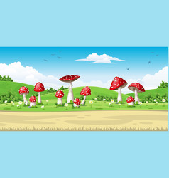 A landscape with mushrooms vector