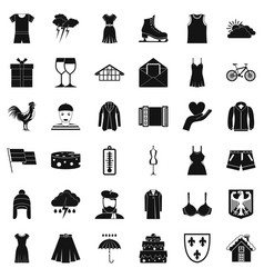 Accessories icons set simple style vector