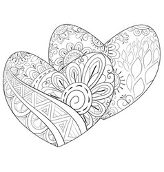 adult coloring bookpage a pair of valentines vector image
