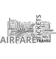 Airfare for the wayfarer text word cloud concept vector