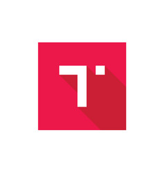 Alphabet t logo combined with red square vector