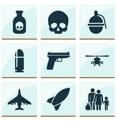 Army icons set collection cranium fugitive vector