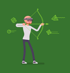 augmented reality man in archery game vector image