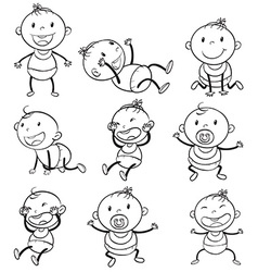Babies with different moods vector