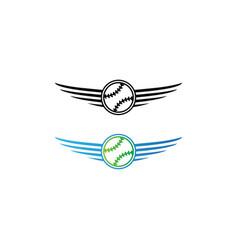 Baseball logo and wings vector