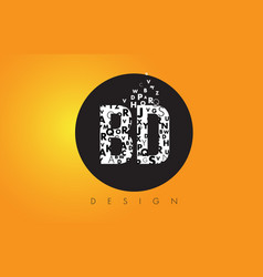 Bd b d logo made of small letters with black vector