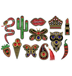 beautiful patches with sequins beads vector image