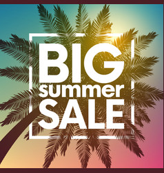 big summer sale background with palm vector image