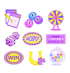 bingo lotto icon set lottery win jackpot badges vector image