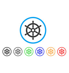 boat steering wheel rounded icon vector image