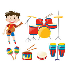 boy and musical instrument set vector image