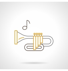 Brass wind instrument flat line icon vector