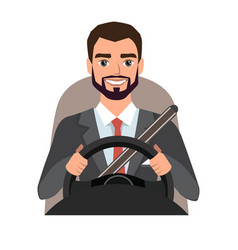 Businessman driving a car man clothing in vector