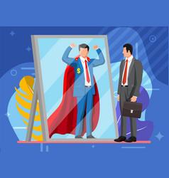 businessman facing himself as superhero in mirror vector image