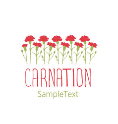 carnation flowers logo design text hand drawn vector image