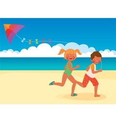 Children running with a kite on the beach vector