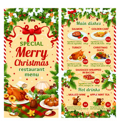 Christmas dinner restaurant dish menu vector