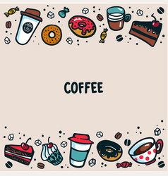 coffee template colorful doodle style coffee cups vector image