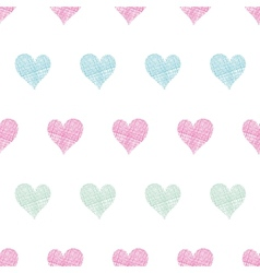 Colorful polka dot textile hearts seamless pattern vector image