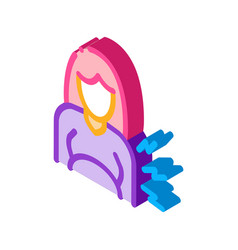 Contractions pregnant woman isometric icon vector