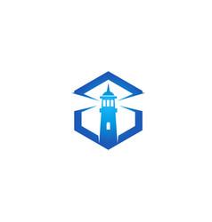 creative abstract blue lighthouse hexagon logo vector image