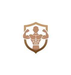 creative bodybuilder gym shield logo design symbol vector image