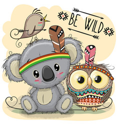 Cute cartoon tribal koala and owl vector