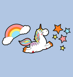 cute carttoon style unicorn flying in starry vector image