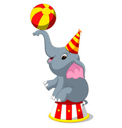 cute circus elephant with a striped ball vector image