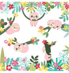 Cute sloth in sweet forest cartoon pattern vector