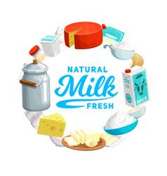 Dairy farm food icon milk cheese and yogurt vector