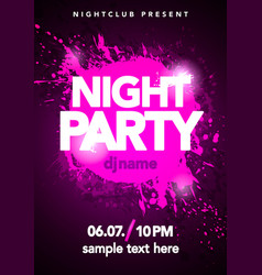 dance party poster with splash and ink splatter vector image