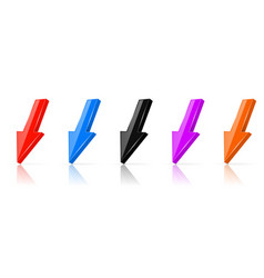 down colored 3d arrows shiny straight icons set vector image