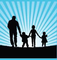 family with children walking in beauty nature vector image