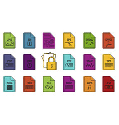 file type icon set color outline style vector image