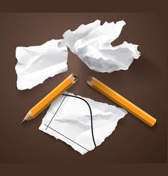 Financial crisis scraps paper chart broken pencil vector