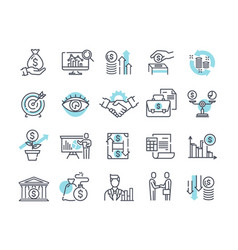 Financial management outline icons vector
