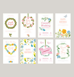Floral cards botanical for placard vector