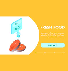 fresh seafood purchase landing page flat template vector image