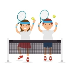 Girl and boy player tennis jump with rscket ball vector
