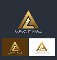 gold triangle shape colored logo vector image