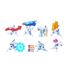 group different robots on isolated white backgroun vector image