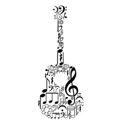Guitar figure composed of notes vector image