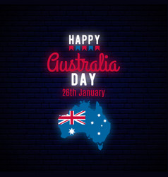 happy australia day neon greeting banner vector image