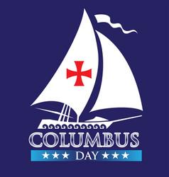 Happy columbus day logo design white ship vector