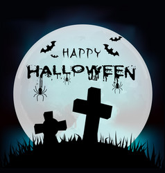 happy halloween grave full moon background vector image