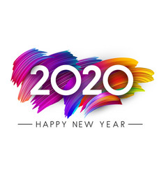 Happy new year 2020 card with colorful brush vector