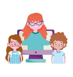 happy teachers day teacher and student girl boy vector image
